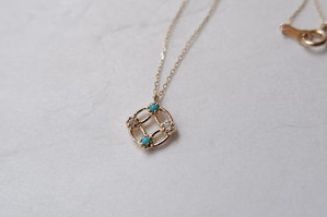 【受注生産】K10YG Amulette necklace[Turquoise&Dia]