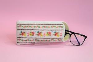 ビーズ刺繍 メガネケース (#81白ボーダー)
