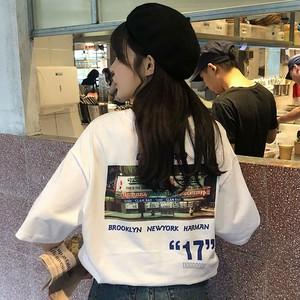 【トップス】日系原宿系カジュアルゆったりラウンドネックプリント合わせやすい半袖Tシャツ