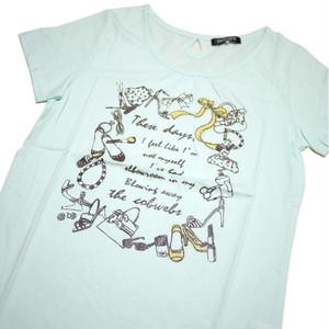 Tシャツ レディース 半袖  グリーン色地にアクセサリー・バッグのイラスト Mサイズ 【ゆうパケットOK】3枚まで可 [170004]