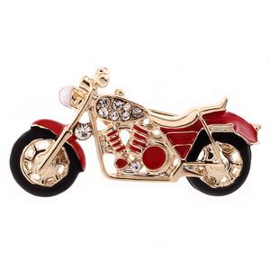 真っ赤なバイクのブローチ☆レッド オートバイ 二輪 ラインストーン