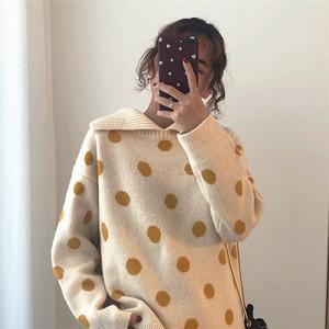 襟付きドットセーター