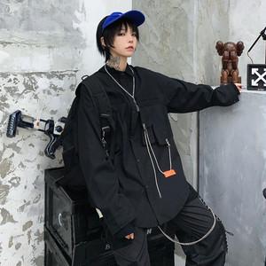 【トップス】ストリート系POLOネックシングルブレスト長袖シャツ24779201