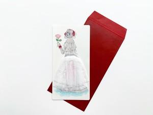 やがわまき | スカートふわふわの純白ねこのドレスカード