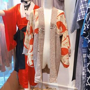 B44 羽織り ~絹、ビンテージ、カーキ、衣装、着物 ~