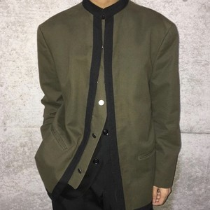 Y'S FOR MEN STAND COLLAR SNAP BUTTON JACKET KHAKI