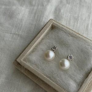 Yularice Seed pierced earring SV925  amethyst + fresh water pearl