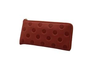 Atelier Kyoto Nishijin/ポップな水玉が可愛い!・牛革型押し・L字長財布・ローズピンク・日本製