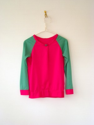 Kids Unsex  /  Cardigan  ( col.pink×green / kc-1spg )
