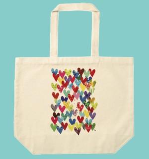 【バレンタイン&ホワイトデー スペシャル♥】トートバッグ「Love Love Love! / ラブラブラブ!」たっぷり大容量 L サイズのトートです! ナチュラル / ホワイト