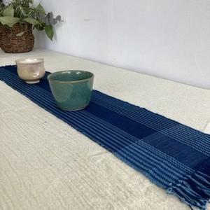 テーブルセンター クロス Lサイズ 手織り 木綿 藍染 草木染 ハンドメイド インテリア 敷物 結工房 日本製