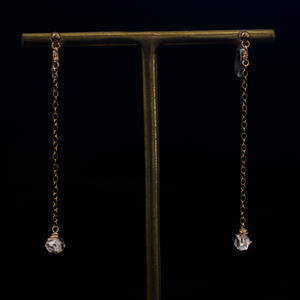 Herkimer diamond and gold chain pierced earrings