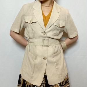 (PAL) open collar shirt jacket with belt