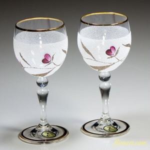ボヘミアクリスタル花柄ワイングラスT1338