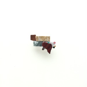モザイクと銅と大理石のmixブローチ(タブレット)