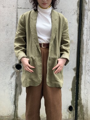 Vintage Olive Green Linen Tailored Jacket Made In USA