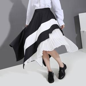 アシンメトリー プリーツスカート 韓国ファッション レディース スカート ロング Aライン ハイウエスト ウエストゴム 大人カジュアル 大人可愛い 614262549072