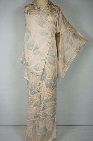 総絞り調 膨れ織り 小紋 正絹 花柄 肌色 210