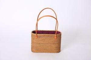 アタ素材のかごバッグ サイズL ワイン色巾着(シンプル無地)