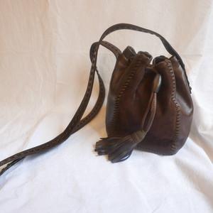 PRADA Leather×Suede Drawstring Bag
