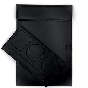 送料無料【コースター&メモパッドセット】合皮 レザー 革 革製/インテリア お店 レストラン 客室(黒)