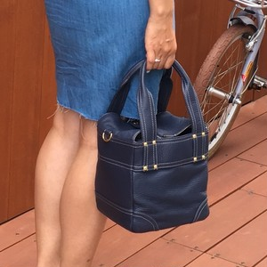 Leather boxtotobag(denim navy)