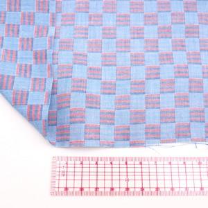 ダブルガーゼ生地1m(赤×青チェック)