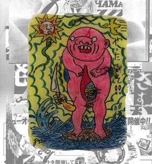 【訳アリ】手描き・根本敬キャラクターオリジナルピンバッチ『 ある日の怪人』ステッカー&メッセージカード付