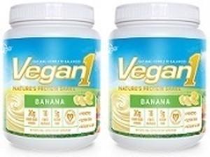 [Vegan1] ビーガンワン-バナナ味, 15杯分-ボトル2本, 天然のプロテインシェイク
