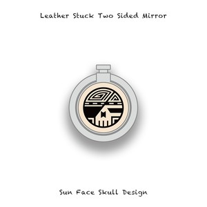 Leather Stuck Smartphone Ring / Sun Face Skull Design 003