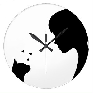 飼い猫の熱い視線・壁時計(イタリアデザイン)