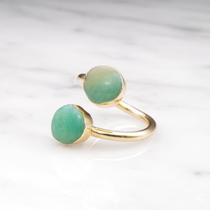 DOUBLE CHRYSOPRASE OPEN RING 02