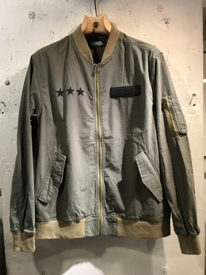 RAKUGAKI OLD ENGLISH STAR Logo MA-1 Khaki x Black