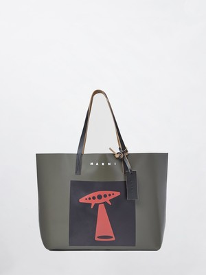 MARNI Shopping Bag UFO Mosstone+Black SHMQ0010A1