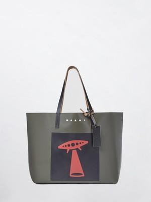 MARNI Shopping Bag UFO Mosstone+Black SHMQ0010A1