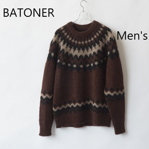 BATONER /バトナー・ Mohair Nordic Crew Neck (Men's)