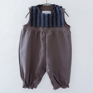 michirico ミチリコ Stripe sailor salopette baby col.:Gray size:SS(80-90)
