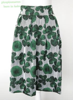 お花柄ストライプスカート グリーン