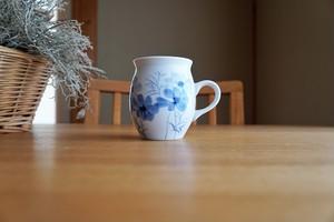 砥部焼/マグカップ/コスモス/青/きよし窯