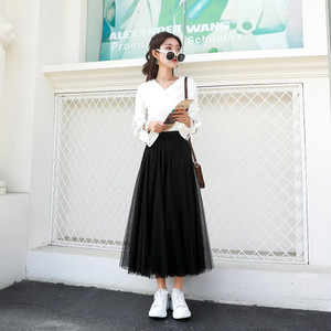 【ボトムス】韓国系ハイウエストプリーツスカート26677155