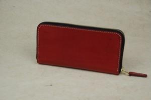 ラウンドファスナー 赤色 牛革オイル leather wallet