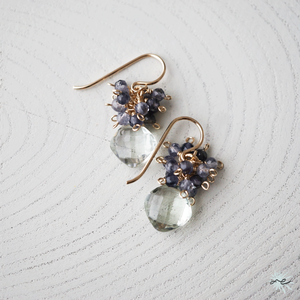 Green Amethyst × Iolite Earrings/14KGF