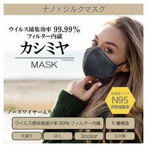 『カシミヤ×ナノ×シルクマスク』 高機能マスクN95同等捕集率 5層構造捕集率最高クラス 天然と科学の力