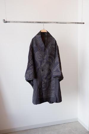 YANTOR Paisley Jacquard Wool Kesa Coat (NAVY) [Y194CO03]