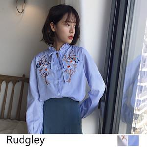 レディース 花刺繡 長袖 シャツ