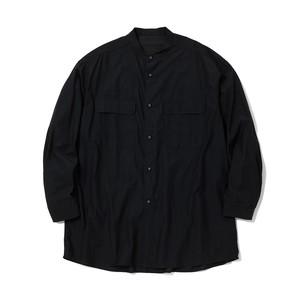 BROAD BAND COLLAR LONG SLEEVES SHIRT -BLACK