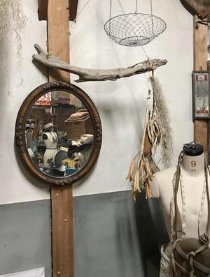 レトロ 古道具 ブロカント 木目調楕円ミラー ヴィンテージ 鏡