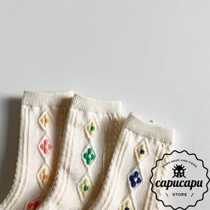[予約][3足セット][ママサイズあり] Flower Socks  フラワー ソックス
