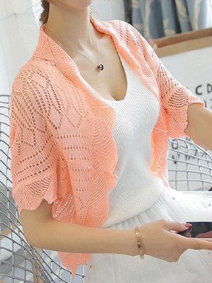 【outer】Watermark carved short-sleeved sunscreen cardigan