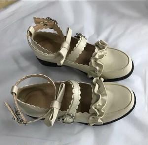 7130パンプス レディース ロリータ シューズ 靴 アンクルストラップ リボン付 ローヒール   ゴスロリ コスプレ靴  LOLITA
